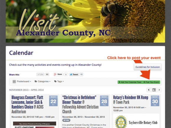 Screenshot of VisitAlexanderNC.com