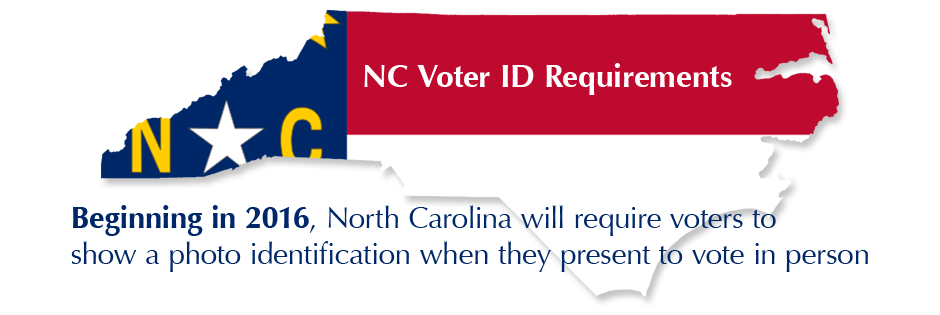 NC Voter ID Requirements: Beginning in 2016, North Carolina will require voters to share a photo identification when they present to vote in person.